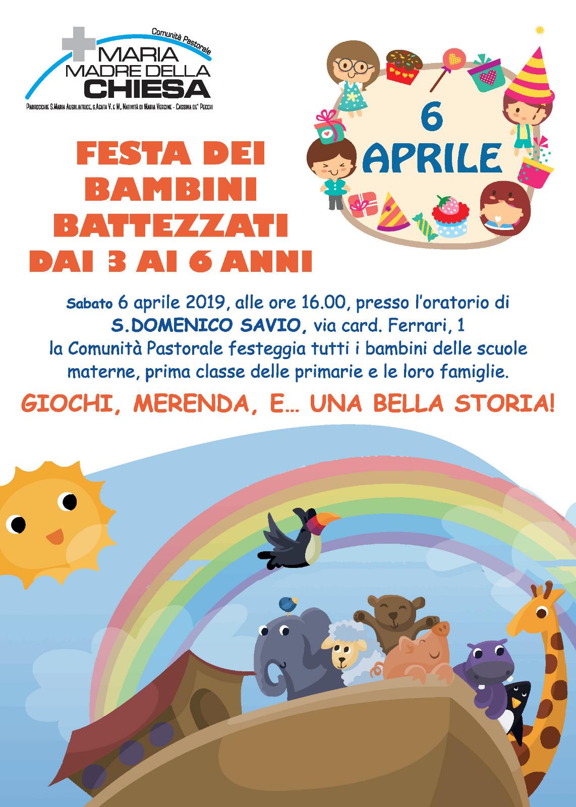 Calendario Liturgico Per Bambini.Festa Dei Bambini Battezzati Da 3 A 6 Anni Comunita Pastorale